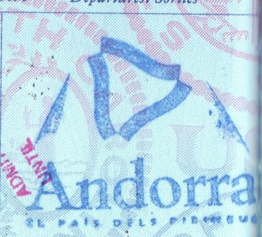 Andorra Passport Stamp Only 2003
