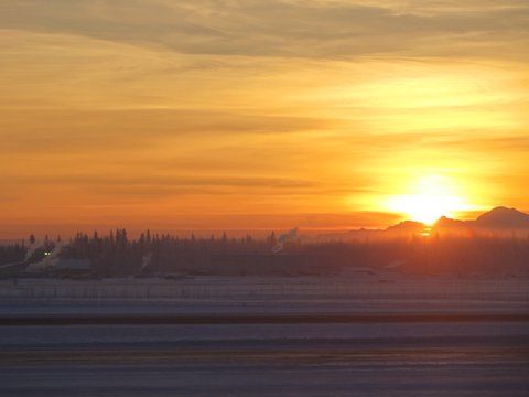 Sunrise at the Fairbanks airport at 10:30a Monday